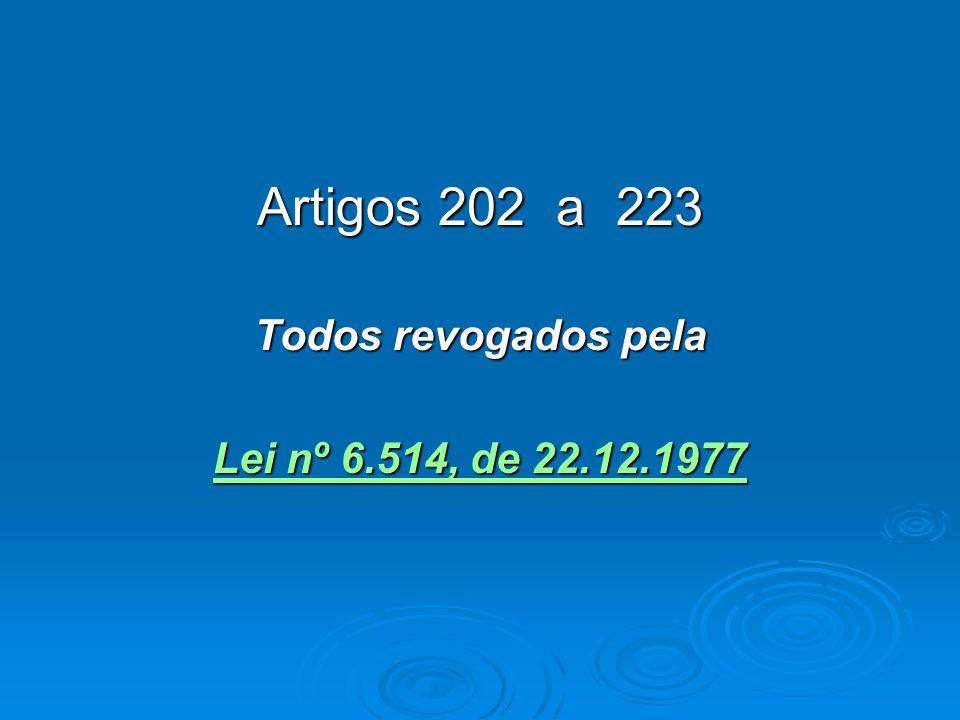 Artigos 202 a 223 Todos revogados pela Lei nº 6.514, de 22.12.1977 Lei nº 6.514, de 22.12.1977