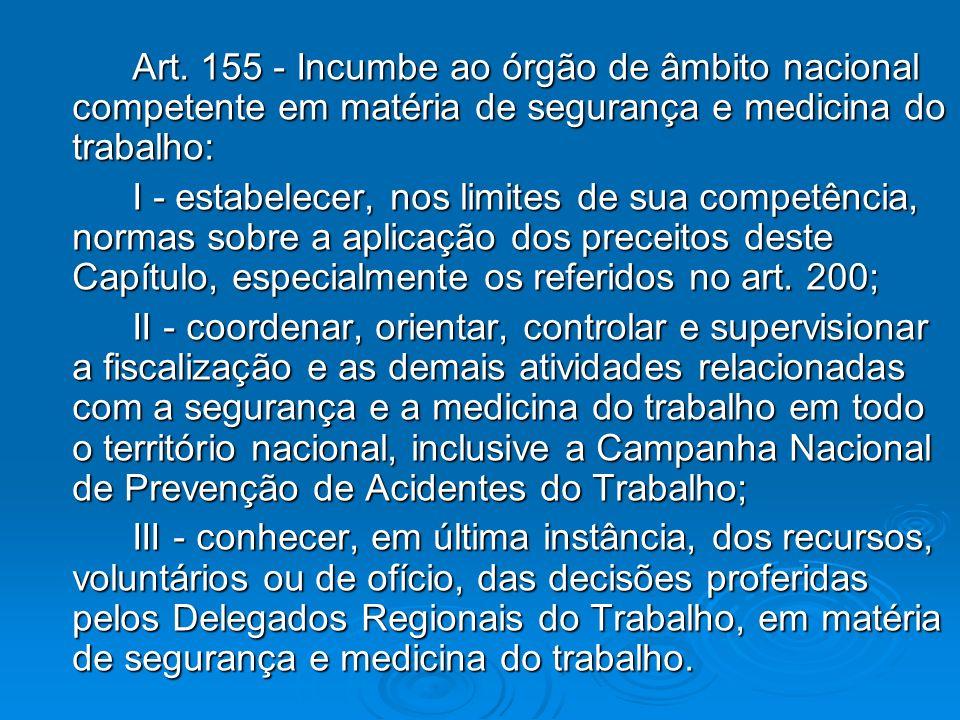 Art. 155 - Incumbe ao órgão de âmbito nacional competente em matéria de segurança e medicina do trabalho: I - estabelecer, nos limites de sua competên