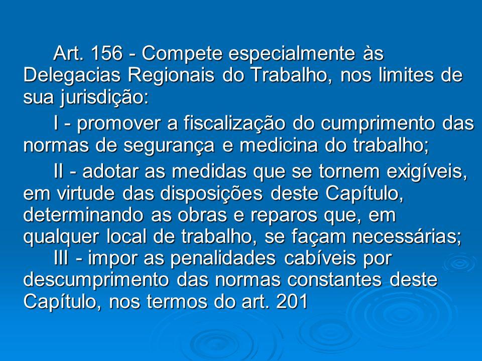 Art. 156 - Compete especialmente às Delegacias Regionais do Trabalho, nos limites de sua jurisdição: I - promover a fiscalização do cumprimento das no