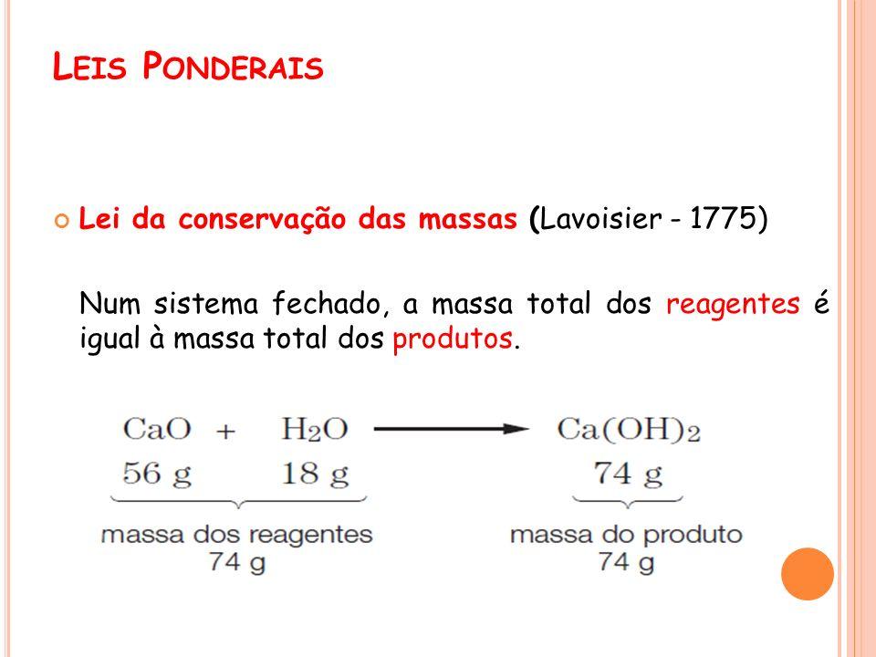 L EIS P ONDERAIS Lei da conservação das massas (Lavoisier - 1775) Num sistema fechado, a massa total dos reagentes é igual à massa total dos produtos.