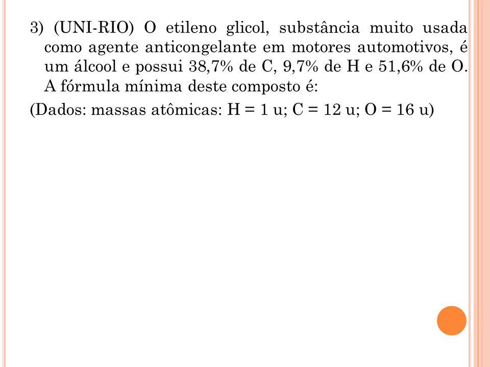 3) (UNI-RIO) O etileno glicol, substância muito usada como agente anticongelante em motores automotivos, é um álcool e possui 38,7% de C, 9,7% de H e