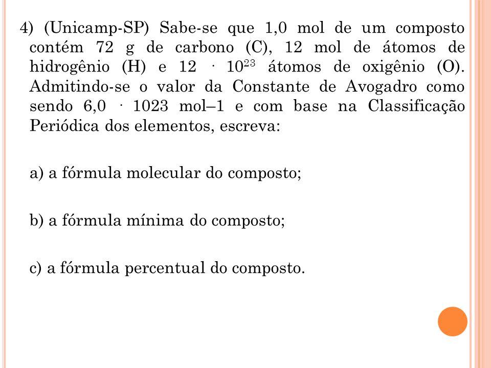 4) (Unicamp-SP) Sabe-se que 1,0 mol de um composto contém 72 g de carbono (C), 12 mol de átomos de hidrogênio (H) e 12 · 10 23 átomos de oxigênio (O).