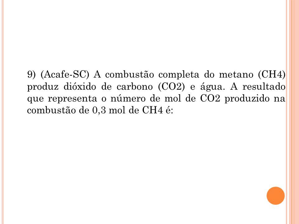 9) (Acafe-SC) A combustão completa do metano (CH4) produz dióxido de carbono (CO2) e água. A resultado que representa o número de mol de CO2 produzido