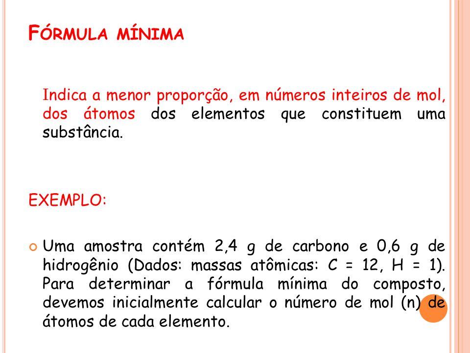F ÓRMULA MÍNIMA I ndica a menor proporção, em números inteiros de mol, dos átomos dos elementos que constituem uma substância. EXEMPLO: Uma amostra co