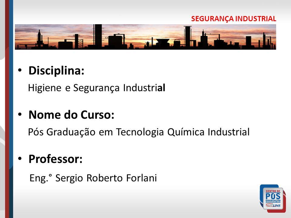 Disciplina: Higiene e Segurança Industrial Nome do Curso: Pós Graduação em Tecnologia Química Industrial Professor: Eng.° Sergio Roberto Forlani SEGUR