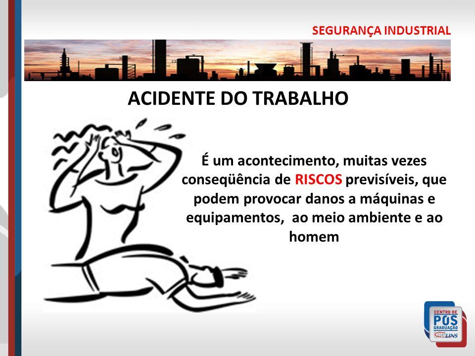 SEGURANÇA INDUSTRIAL É um acontecimento, muitas vezes conseqüência de RISCOS previsíveis, que podem provocar danos a máquinas e equipamentos, ao meio