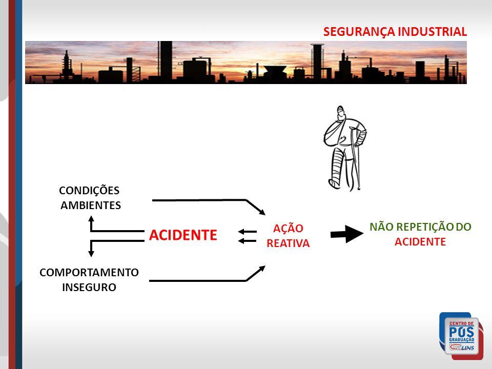 SEGURANÇA INDUSTRIAL AÇÃO REATIVA CONDIÇÕES AMBIENTES COMPORTAMENTO INSEGURO NÃO REPETIÇÃO DO ACIDENTE ACIDENTE