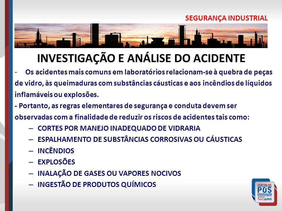 SEGURANÇA INDUSTRIAL INVESTIGAÇÃO E ANÁLISE DO ACIDENTE -Os acidentes mais comuns em laboratórios relacionam-se à quebra de peças de vidro, às queimad