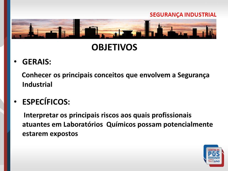 SEGURANÇA INDUSTRIAL OBJETIVOS GERAIS: Conhecer os principais conceitos que envolvem a Segurança Industrial ESPECÍFICOS: Interpretar os principais ris