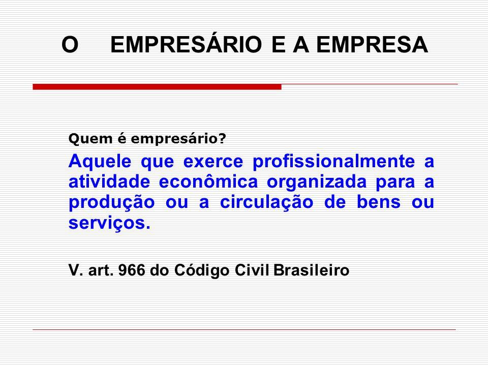 O EMPRESÁRIO E A EMPRESA Quem é empresário? Aquele que exerce profissionalmente a atividade econômica organizada para a produção ou a circulação de be