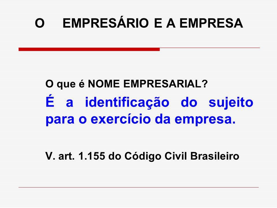 O EMPRESÁRIO E A EMPRESA O que é NOME EMPRESARIAL? É a identificação do sujeito para o exercício da empresa. V. art. 1.155 do Código Civil Brasileiro