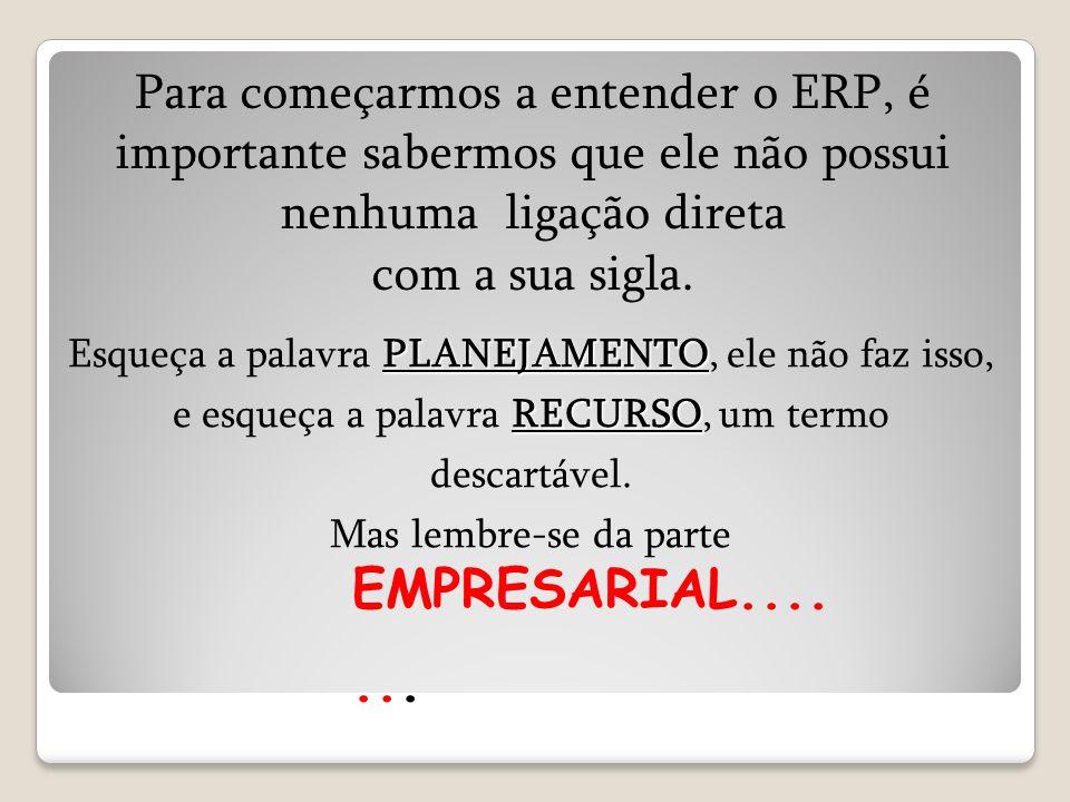 EMPRESARIAL....... Para começarmos a entender o ERP, é importante sabermos que ele não possui nenhuma ligação direta com a sua sigla. PLANEJAMENTO REC