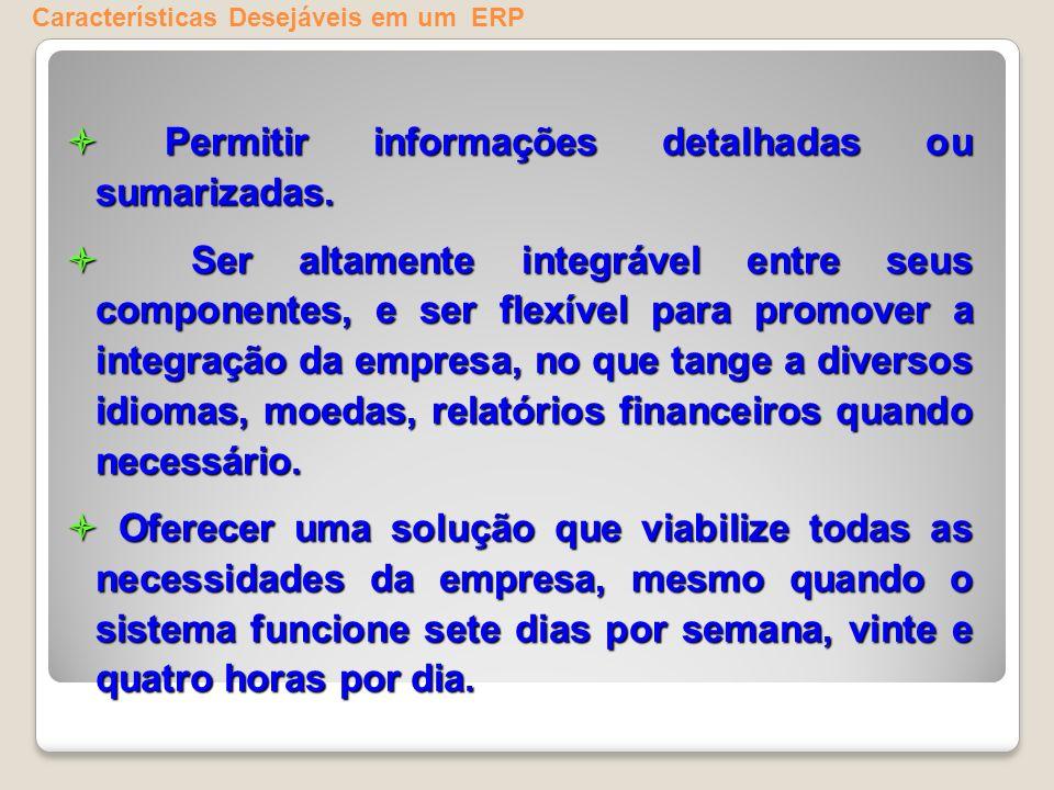 Características Desejáveis em um ERP Permitir informações detalhadas ou sumarizadas. Permitir informações detalhadas ou sumarizadas. Ser altamente int