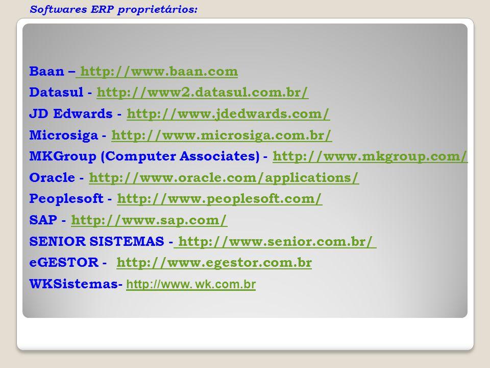 Softwares ERP proprietários: Baan – http://www.baan.com http://www.baan.com Datasul - http://www2.datasul.com.br/http://www2.datasul.com.br/ JD Edward