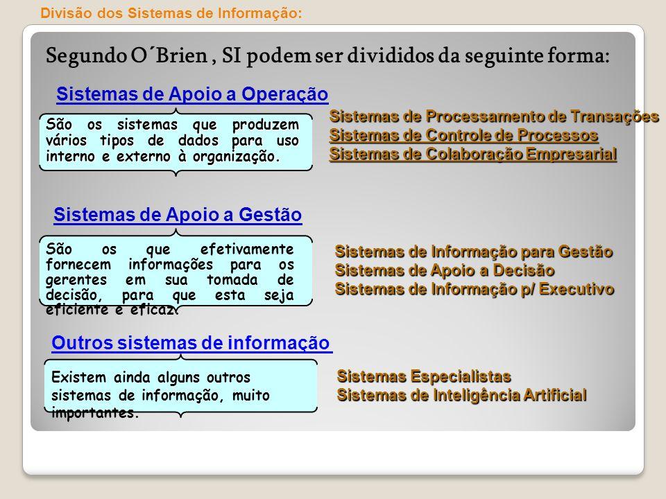 Segundo O´Brien, SI podem ser divididos da seguinte forma: Sistemas de Apoio a Operação São os que efetivamente fornecem informações para os gerentes