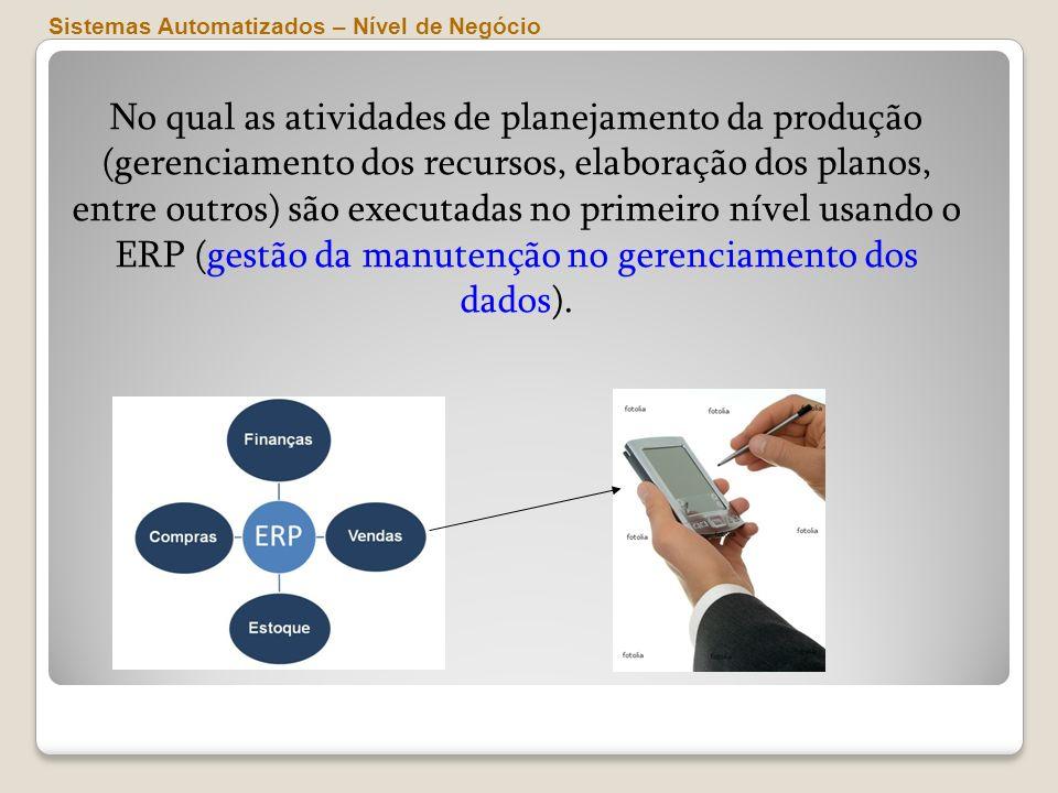 Sistemas Automatizados – Nível de Negócio No qual as atividades de planejamento da produção (gerenciamento dos recursos, elaboração dos planos, entre
