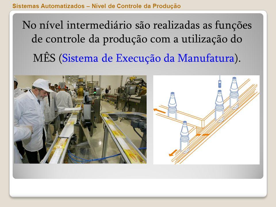 No nível intermediário são realizadas as funções de controle da produção com a utilização do MÊS (Sistema de Execução da Manufatura). Sistemas Automat