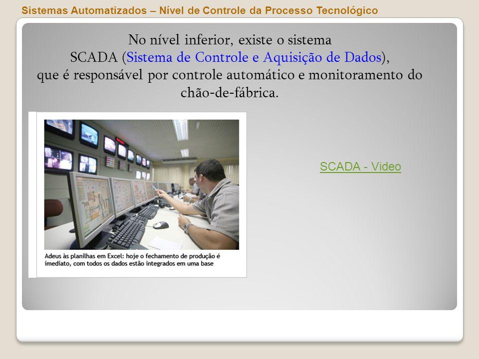 No nível inferior, existe o sistema SCADA (Sistema de Controle e Aquisição de Dados), que é responsável por controle automático e monitoramento do chã