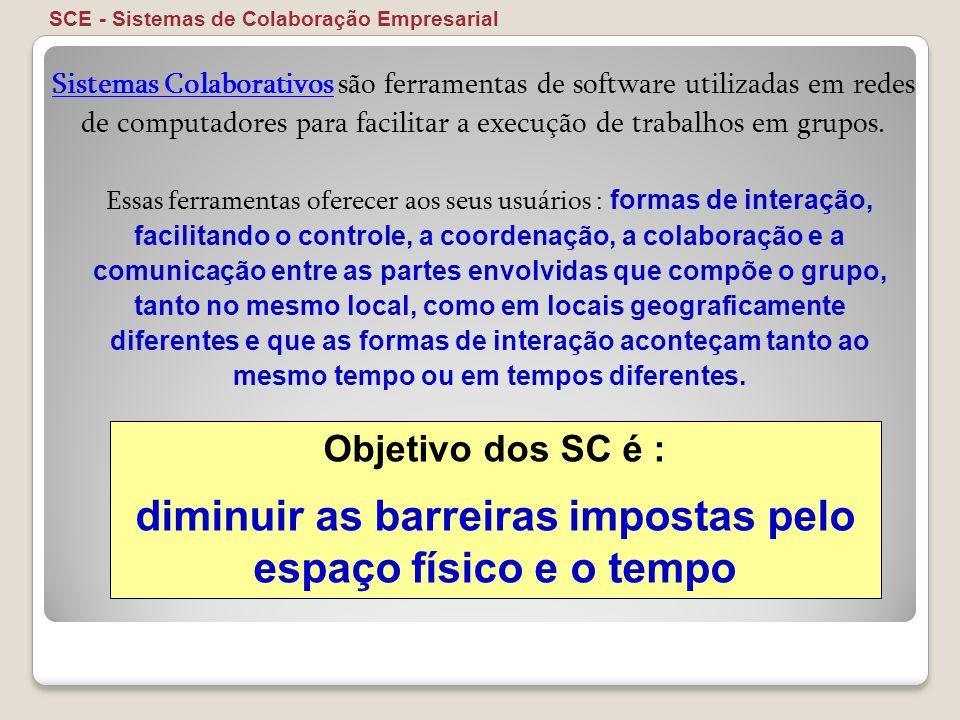 SCE - Sistemas de Colaboração Empresarial Sistemas Colaborativos são ferramentas de software utilizadas em redes de computadores para facilitar a exec