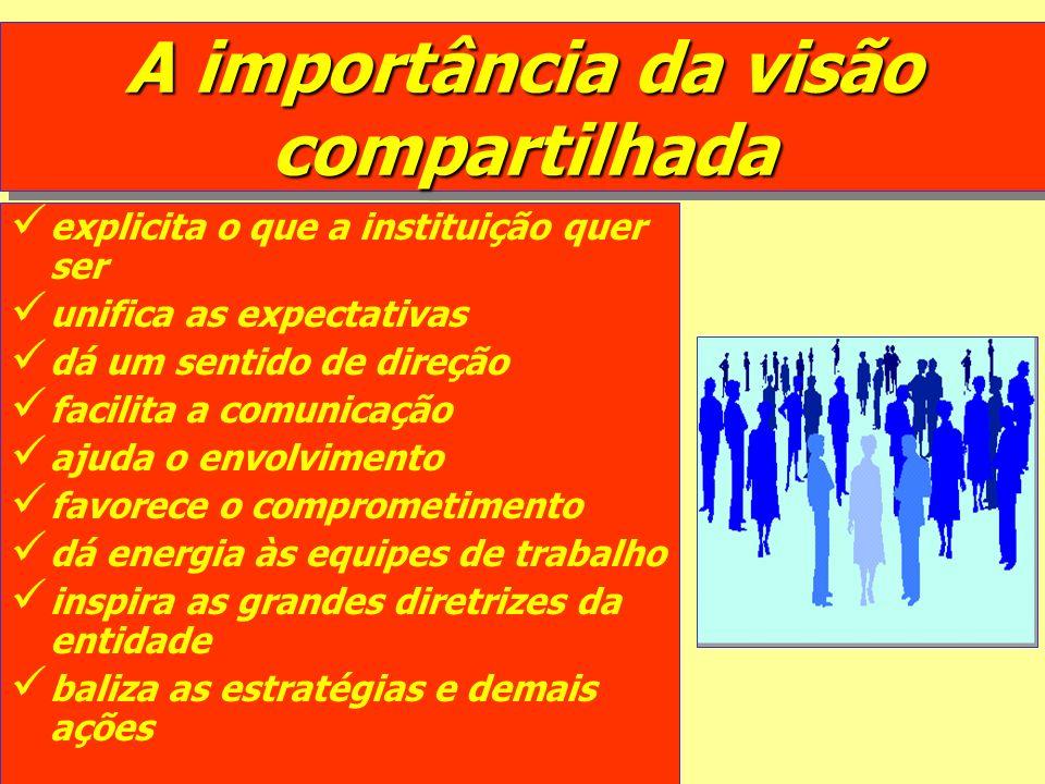 A importância da visão compartilhada explicita o que a instituição quer ser unifica as expectativas dá um sentido de direção facilita a comunicação aj