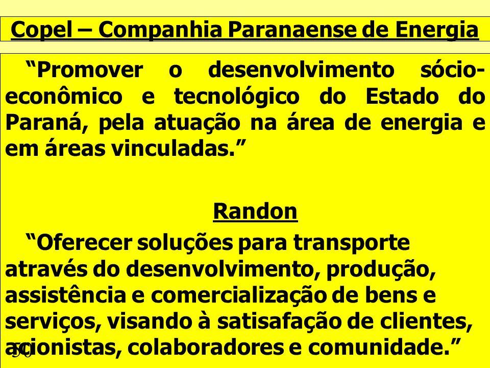 Copel – Companhia Paranaense de Energia Promover o desenvolvimento sócio- econômico e tecnológico do Estado do Paraná, pela atuação na área de energia