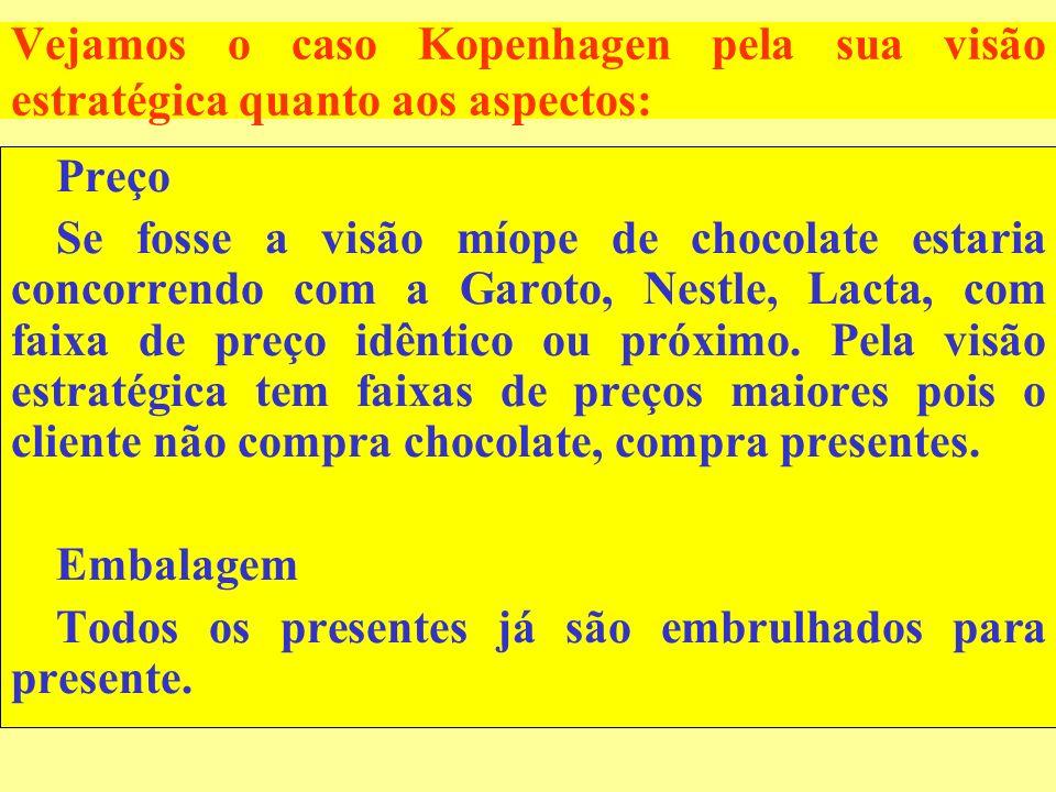 Vejamos o caso Kopenhagen pela sua visão estratégica quanto aos aspectos: Preço Se fosse a visão míope de chocolate estaria concorrendo com a Garoto,