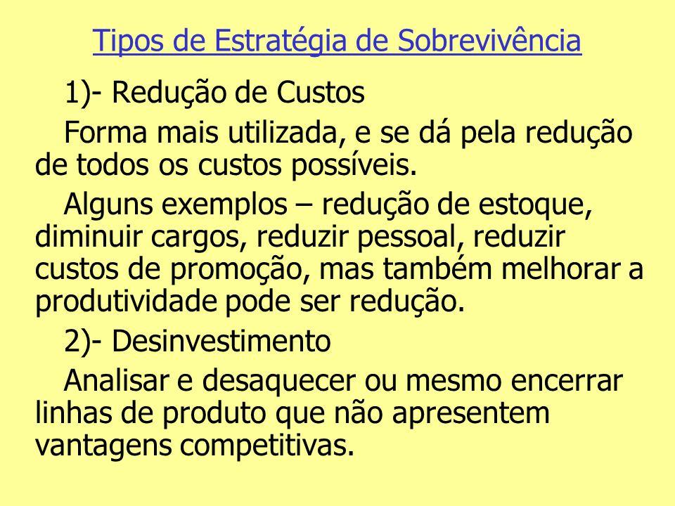Tipos de Estratégia de Sobrevivência 1)- Redução de Custos Forma mais utilizada, e se dá pela redução de todos os custos possíveis. Alguns exemplos –