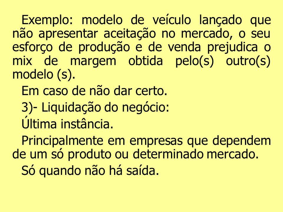 Exemplo: modelo de veículo lançado que não apresentar aceitação no mercado, o seu esforço de produção e de venda prejudica o mix de margem obtida pelo