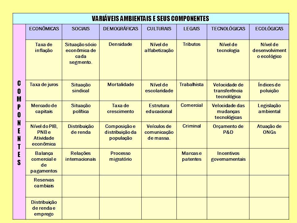 VARIÁVEIS AMBIENTAIS E SEUS COMPONENTES COMPONENTE CCOOMMPPOONNEENNTTEESCCOOMMPPOONNEENNTTEESECONÔMICASSOCIAISDEMOGRÁFICASCULTURAISLEGAISTECNOLÓGICASE