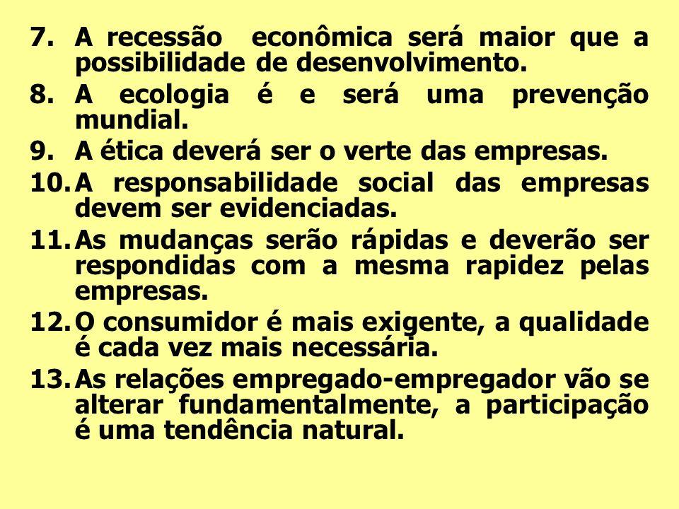 7.A recessão econômica será maior que a possibilidade de desenvolvimento. 8.A ecologia é e será uma prevenção mundial. 9.A ética deverá ser o verte da