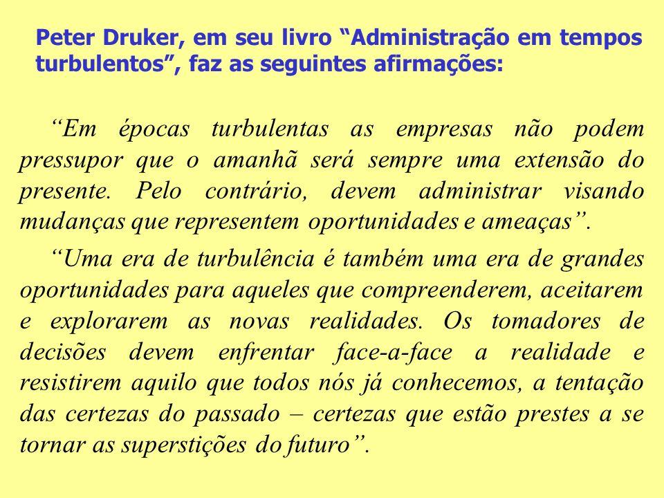 Peter Druker, em seu livro Administração em tempos turbulentos, faz as seguintes afirmações: Em épocas turbulentas as empresas não podem pressupor que