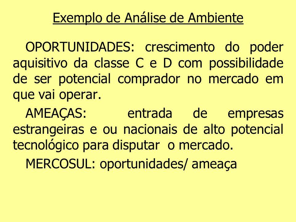 Exemplo de Análise de Ambiente OPORTUNIDADES: crescimento do poder aquisitivo da classe C e D com possibilidade de ser potencial comprador no mercado