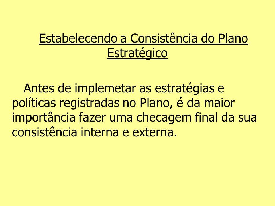 Estabelecendo a Consistência do Plano Estratégico Antes de implemetar as estratégias e políticas registradas no Plano, é da maior importância fazer um