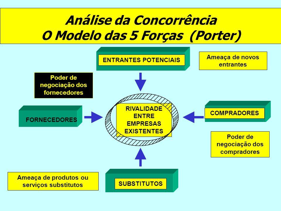 Análise da Concorrência O Modelo das 5 Forças (Porter) COMPRADORES FORNECEDORES ENTRANTES POTENCIAIS SUBSTITUTOS RIVALIDADE ENTRE EMPRESAS EXISTENTES