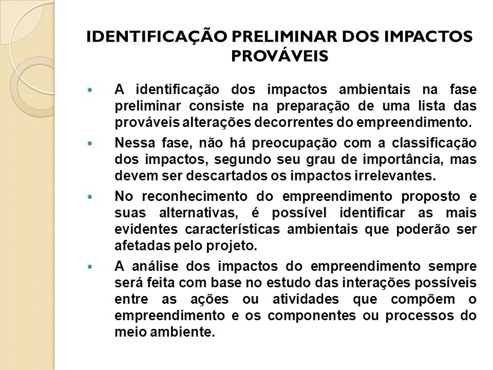 IDENTIFICAÇÃO PRELIMINAR DOS IMPACTOS PROVÁVEIS A identificação dos impactos ambientais na fase preliminar consiste na preparação de uma lista das pro