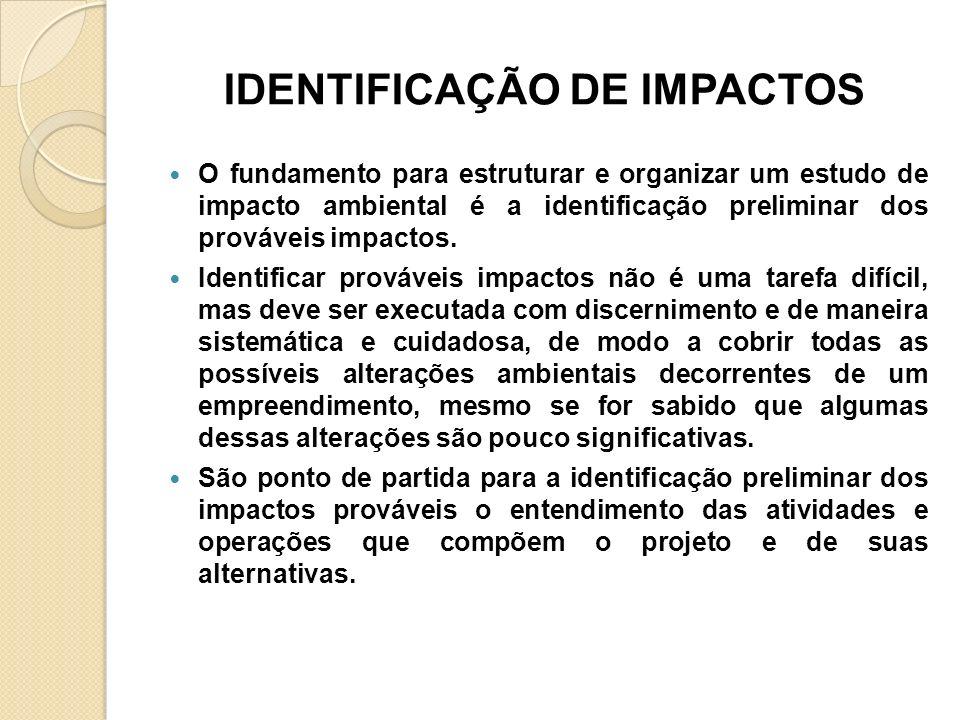 IDENTIFICAÇÃO DE IMPACTOS O fundamento para estruturar e organizar um estudo de impacto ambiental é a identificação preliminar dos prováveis impactos.