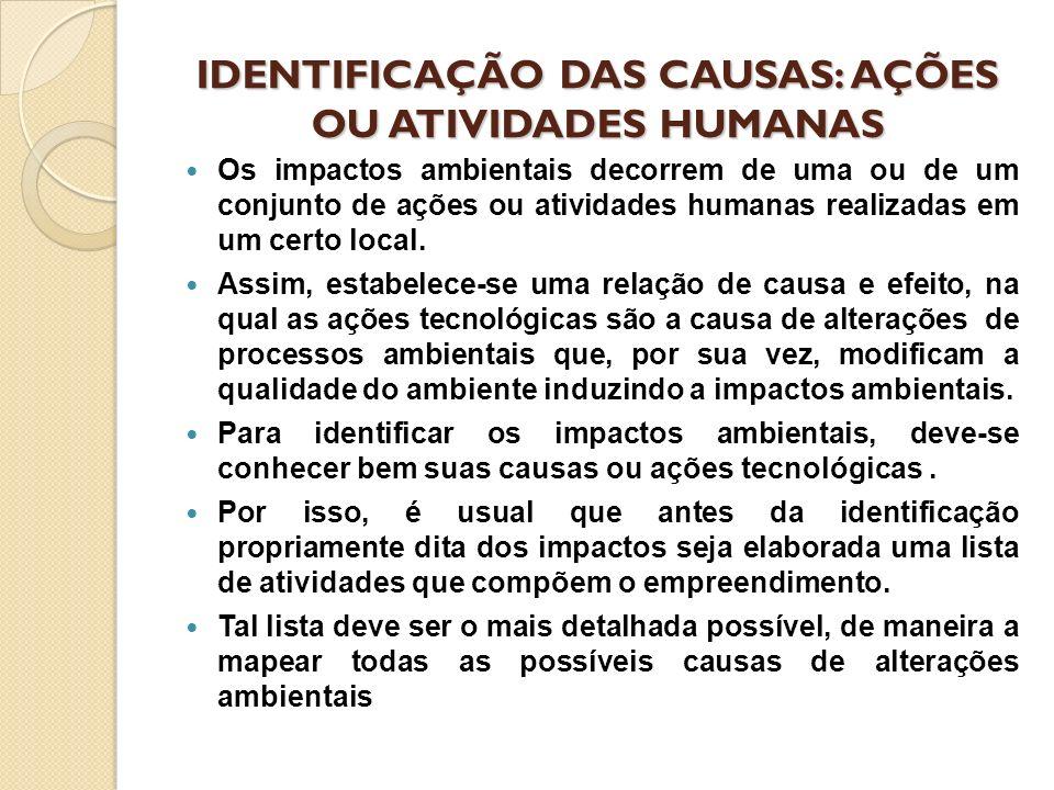 IDENTIFICAÇÃO DAS CAUSAS: AÇÕES OU ATIVIDADES HUMANAS Os impactos ambientais decorrem de uma ou de um conjunto de ações ou atividades humanas realizad