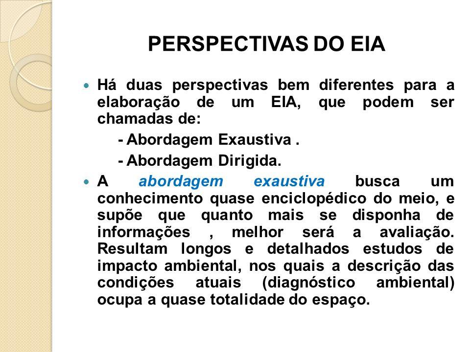 PERSPECTIVAS DO EIA Há duas perspectivas bem diferentes para a elaboração de um EIA, que podem ser chamadas de: - Abordagem Exaustiva. - Abordagem Dir