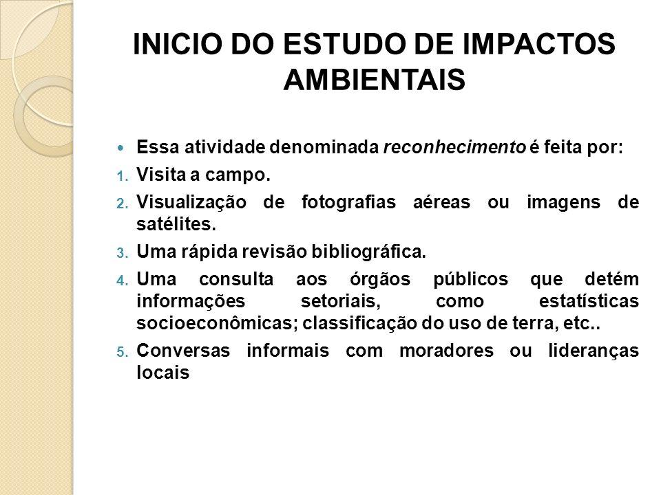 INICIO DO ESTUDO DE IMPACTOS AMBIENTAIS Essa atividade denominada reconhecimento é feita por: 1. Visita a campo. 2. Visualização de fotografias aéreas