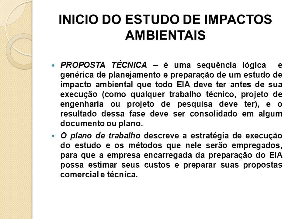 INICIO DO ESTUDO DE IMPACTOS AMBIENTAIS PROPOSTA TÉCNICA – é uma sequência lógica e genérica de planejamento e preparação de um estudo de impacto ambi