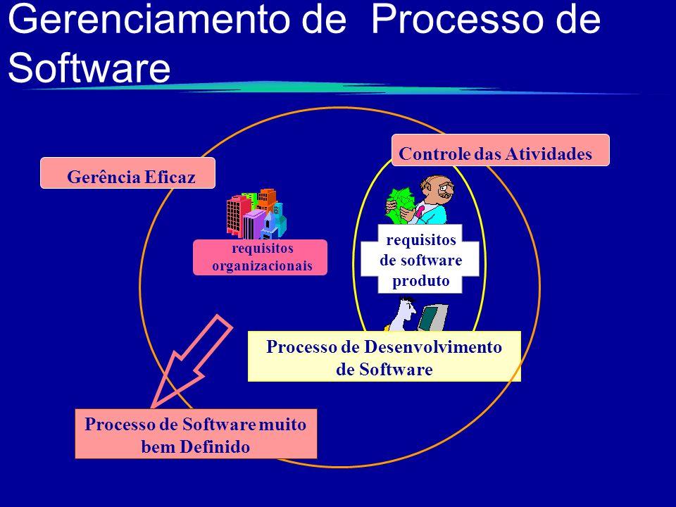 Gerenciamento de Processo de Software Processo de Desenvolvimento de Software requisitos organizacionais Controle das Atividades Gerência Eficaz Proce