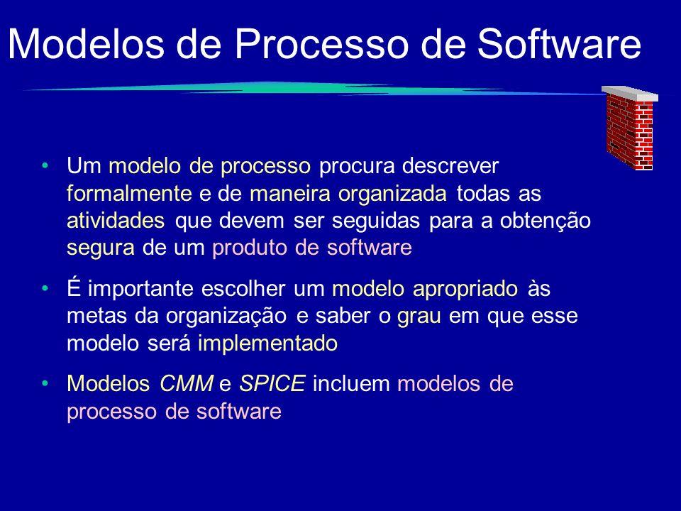 Modelos de Processo de Software Um modelo de processo procura descrever formalmente e de maneira organizada todas as atividades que devem ser seguidas