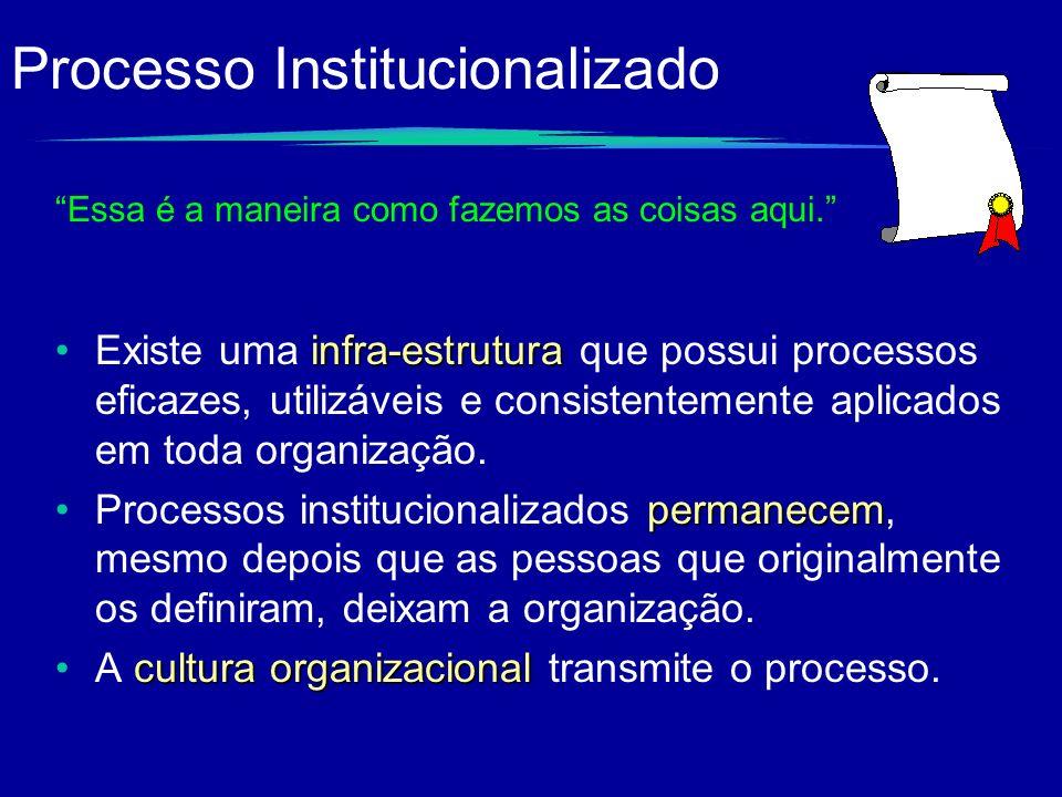 Processo Institucionalizado infra-estruturaExiste uma infra-estrutura que possui processos eficazes, utilizáveis e consistentemente aplicados em toda