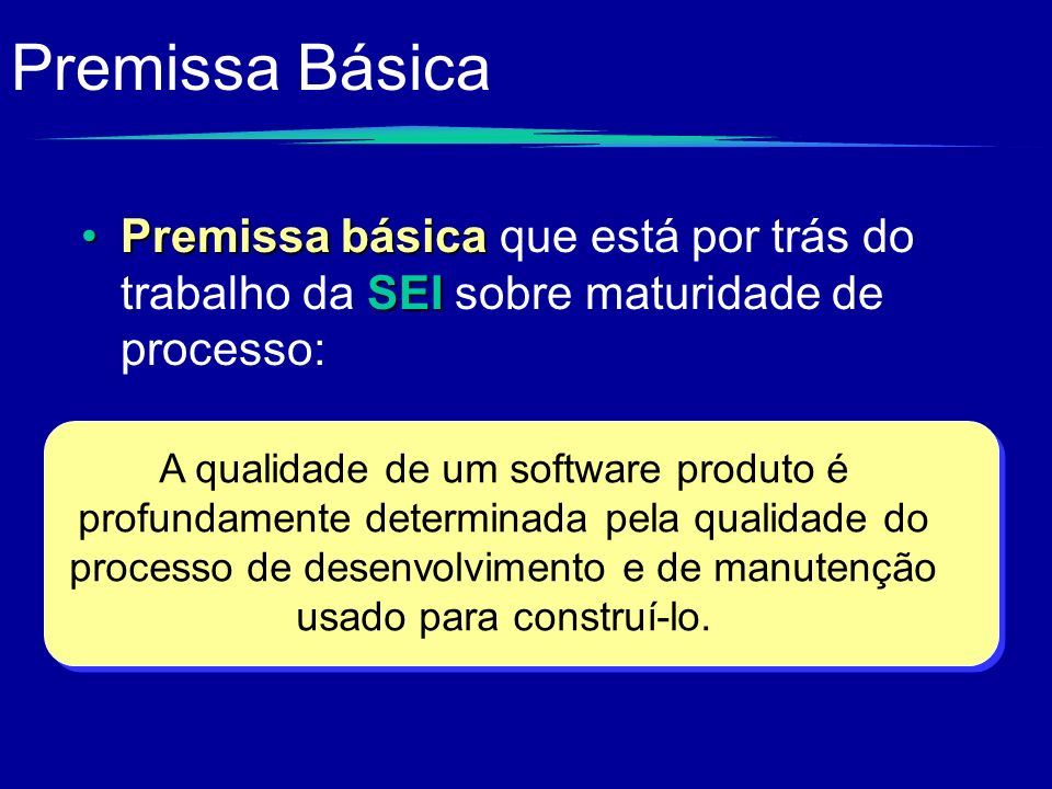 Premissa Básica Premissa básica SEIPremissa básica que está por trás do trabalho da SEI sobre maturidade de processo: A qualidade de um software produ