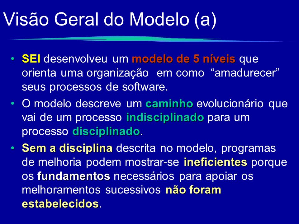 Visão Geral do Modelo (a) SEImodelo de5 níveisSEI desenvolveu um modelo de 5 níveis que orienta uma organização em como amadurecer seus processos de s