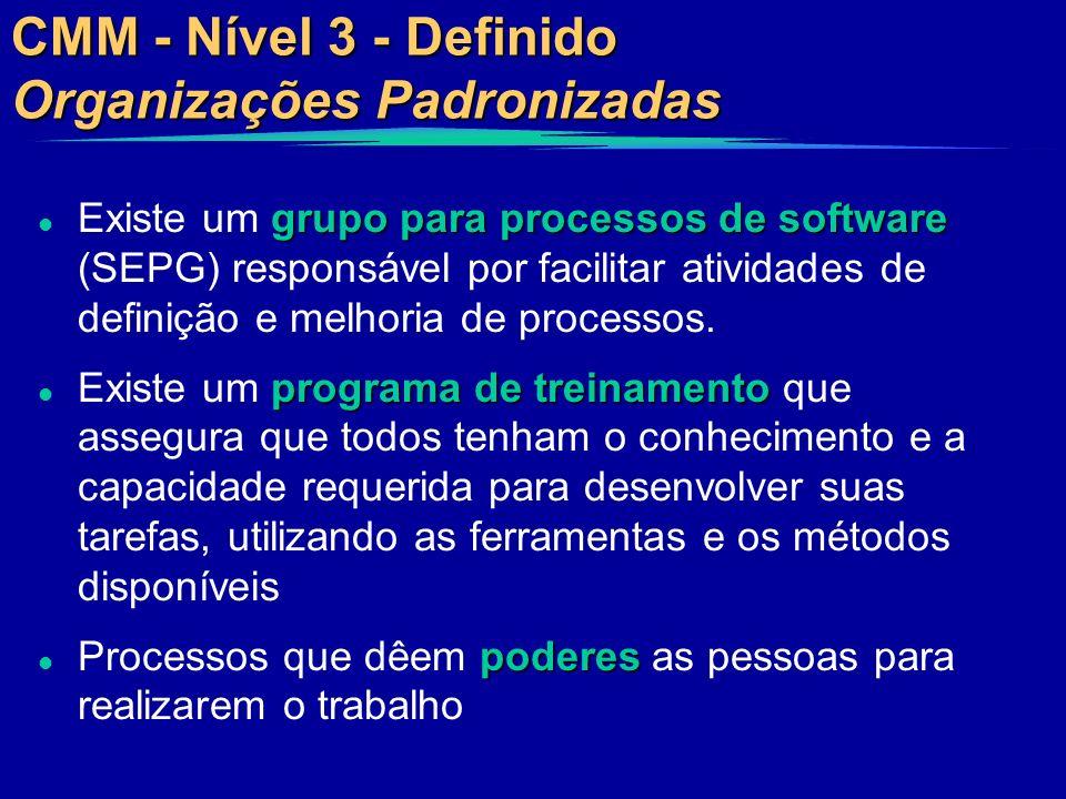 CMM - Nível 3 - Definido Organizações Padronizadas grupo para processos de software l Existe um grupo para processos de software (SEPG) responsável po