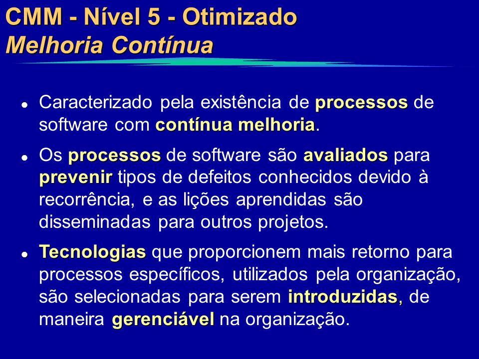 CMM - Nível 5 - Otimizado Melhoria Contínua processos contínua melhoria l Caracterizado pela existência de processos de software com contínua melhoria