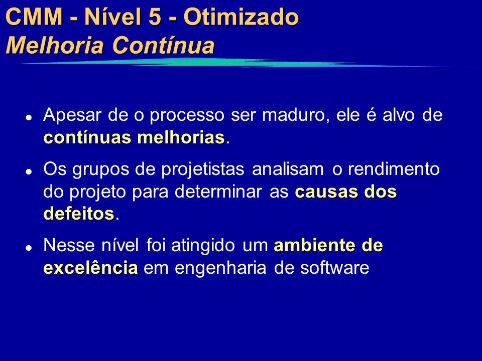 CMM - Nível 5 - Otimizado Melhoria Contínua contínuas melhorias l Apesar de o processo ser maduro, ele é alvo de contínuas melhorias. causas dos defei