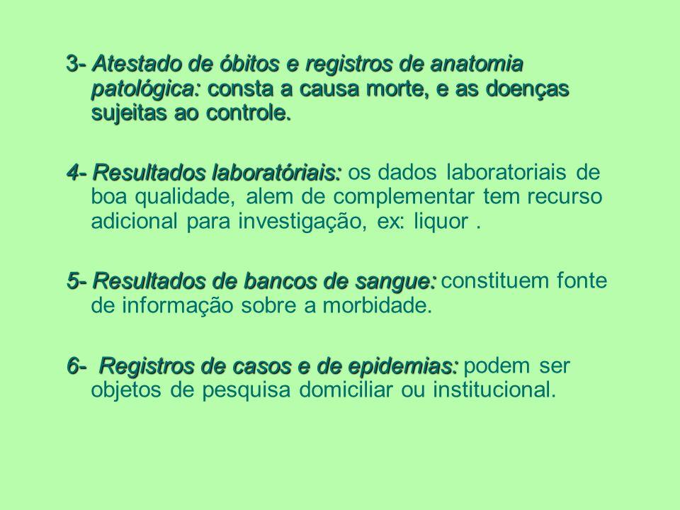 3- Atestado de óbitos e registros de anatomia patológica: consta a causa morte, e as doenças sujeitas ao controle. 4- Resultados laboratóriais: 4- Res