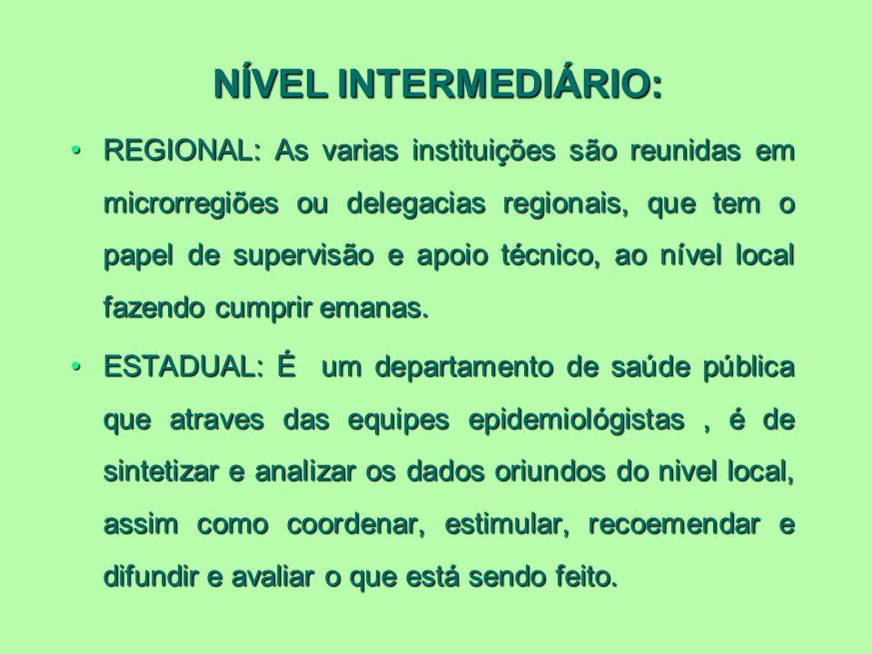 NÍVEL INTERMEDIÁRIO: REGIONAL: As varias instituições são reunidas em microrregiões ou delegacias regionais, que tem o papel de supervisão e apoio téc